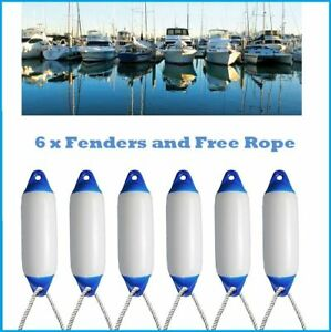 6 x Majoni Boat Fenders Size 1 White & Navy Blue - 45cm - FREE ROPE ✓ INFLATED ✓