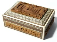 Vintage Micro Mosaic + Carved Wood Taj Mahal Pictorial Lid Trinket Box + Key