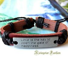 """Men's Cool """"Love is the Key to Open the Gate of Happiness"""" Leather Bracelet"""