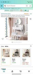 Modern Makeup Dressing Table Vanity Set W/ 10 Led Lights Mirror for Bedroom Gray