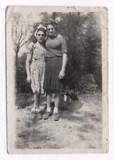 PHOTO ANCIENNE Déguisement Travesti Couple Drôle Curiosité 1945 Femme Robe Homme