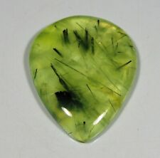 44 CT SUPERB NATURAL APPLE GREEN RUTILATED PREHNITE PEAR CABOCHON GEMSTONE A363