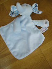 TESCO BLUE BABY ELEPHANT SOFT TOY COMFORTER ANIMAL PRINT EARS