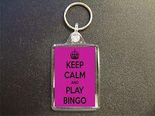 KEEP CALM AND PLAY BINGO KEYRING BAG TAG BIRTHDAY GIFT