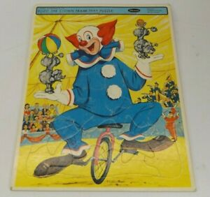 """Vintage Bozo The Clown Frame Tray Puzzle Unicycle Poodles Band 11.5"""" x 14.5"""""""