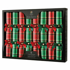 Luxury Tom Smith Christmas Party Crackers 8pk Green/Red TARTAN