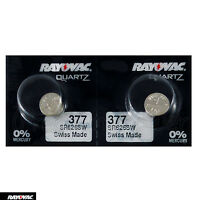 2 x Rayovac 377 batteries Silver Oxide 1.55V SR626SW SR66 376 V377 Watches Swiss