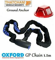Oxford Security Motorbike GP Chain 1.5m + Mammoth Ground Anchor Motorcycle