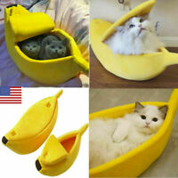 Puppy Pet Cat Dog Soft Nest Banana Kennel Bed Cave House Sleeping Mat 3 Sizes US