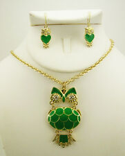 Joan Rivers Enameled Owl Pendant Necklace and Earring Set (w/box/pouch/J R card)