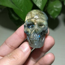 37 gram Carved natural labradorite skull face pendant loose gemstones beads