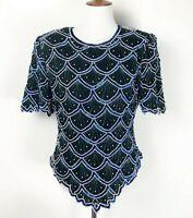 Vintage Kazer Large Blouse Silk Beaded Sequin Black Blue Top Glam 80s Dallas