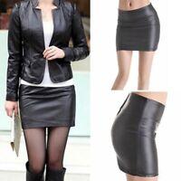 US Plus Womens Black PU Leather High Waist Tight Zip Stretch Mini-skirt Dress