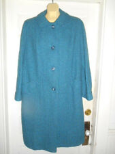 Womens Vtg. HARRIS TWEED Handwoven Blue/Green Classy Coat size (see meas) EUC!!