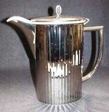 Art Deco Kanne Nickel m. Porzellan Kanne Thomas