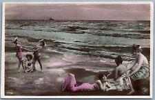 BATHING GIRLS ON BEACH PHOTOMONTAGE FANTASY ANTIQUE REAL PHOTO POSTCARD RPPC