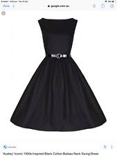 Lindy Bop Retro Style black 'Audrey' swing dress 14