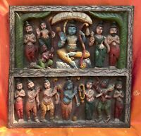 Sculpture antique indienne Temple Bois Décor mural Hindou Ram Sita Hanuman Inde