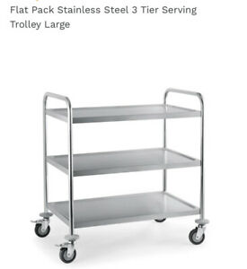 3 Tier Stainless Steel Catering Trolley Food Dinner Service Cart On Wheels 3FT