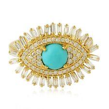 Baguette Diamond Turquoise Gemstone Evil Eye Ring 18k Yellow Gold Jewelry