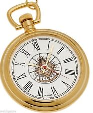 New Bulova Gold Plated Masonic Past Master Pocket Watch and Matching Chain
