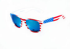 USA Stars & Stripes American Wayfare Sunglasses Blue Mirror Lens Mens Ladies