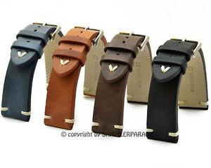 Look rétro Bracelet Montre Cuir 18, 20, 22, 24mm Pour Homme Band Strap BS