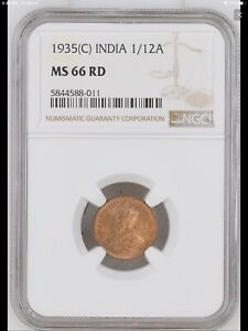 1935 India British 1/12 Anna coin NGC MS-66 RED Highest Graded! Top Pop!