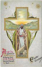 """Vintage Postcard """"Easter Greetings"""" Shepherd Lambs and Cross, Boston, Germany"""