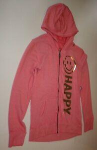 New Justice Girls 12 14 year Hoodie Sweatshirt Top Happy Metallic Print Pink