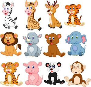 Animals Bedroom wall / toy box stickers Vinyl Baby Nursery Childrens Window  zoo