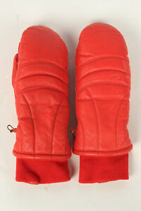 Motorbike Gloves Womens Mittens Leather Vintage Classic Size L Retro Red - G493