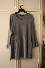 NINA LEONARD GREY KNITTED TUNIC JUMPER DRESS - CABLE DETAIL - SIZE XXXL - BNWOT