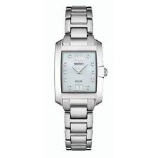 Seiko Women's White Solar-Powered 10 Diamonds Watch SUP377