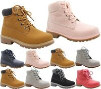 GIRLS KIDS BOYS WARM WINTER LACE UP TRAINER HIKING COMBAT ANKLE BOOTS SHOES SIZE
