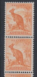 Australia 1948 SKY RETOUCH (R.6/8) sg228c/cb MINT ½d orange coil strip MNH