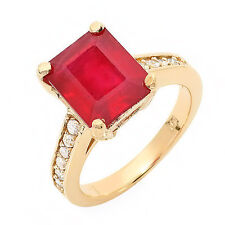Estate ring 5.8 ct natural ruby and diamond 14k gold