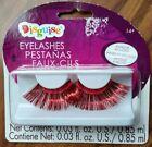 Red Metallic Extra Long False Fake Eyelashes Lashes Halloween W/Adhesive New!