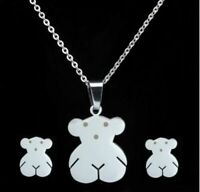 Stainless steel Necklace Touss Pendant Earrings Teddy bear Jewelry Sets