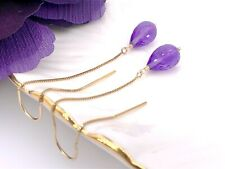 Solid 14k Gold & Genuine Amethyst (7.3ct) Dangle/Threader Earrings, New