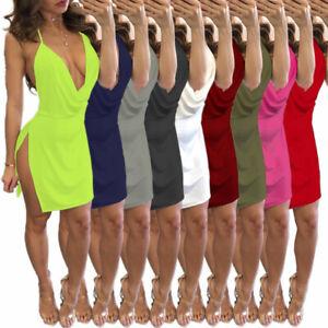 Women's Clubwear Bodycon Dress Mini Dress V Neck Backless Slip Cocktail Party 1X