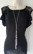 "Stunning 30"" long silver tone knotted lariat chain & tassel pendant necklace *D1"