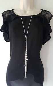"""Stunning 30"""" long silver tone knotted lariat chain & tassel pendant necklace *D1"""