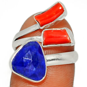 Faceted Lapis - Afghanistan & Red Coral 925 Silver Ring Jewelry s.7 BR16824