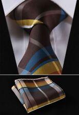 SOLDE - bleu marine jaune marron écossais Cravate hommes -vérifiez cravate