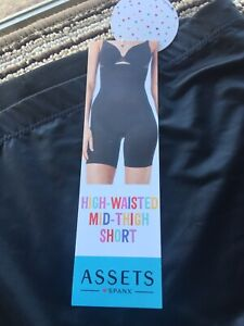 NWT Spanx Assets Women's High Waist Mid-Thigh Shaper Short Black SZ L MSRP $28