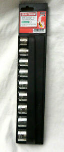 """New Craftsman 9 Pc SAE Inches Standard Socket Set Easy to read 12 PT 1/2"""" Drive"""