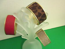 Gold Clasp Cuff Bracelet by Mud Pie, Leopard, Red, or Copper, NWT
