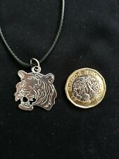 Silver Tiger Head Cord Necklace Charm Pendant Zoo Animal African Tiger Chinese
