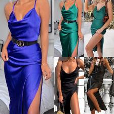Womens Satin Silk Bodycon High Split Sleeveless Slip Dress Sexy Party Cocktail